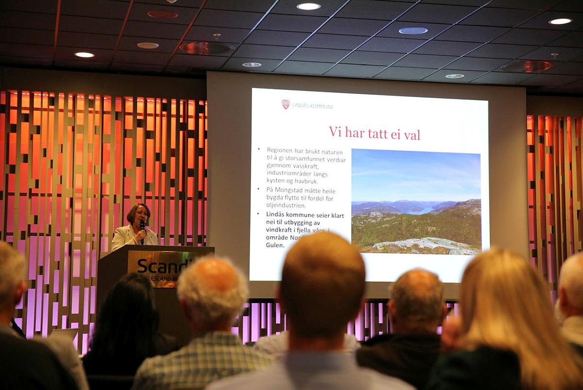 Astrid Byrknes, ordfører i Lindås kommune, på talerstolen. Olje- og energidepartementet innspillsmøte Nasjonal ramme, Bergen 23. mai 2019.