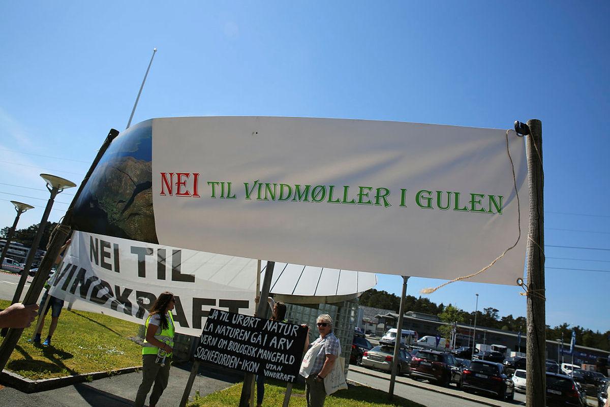 VON (Vern om fjella i Nordhordland), Folk for Fjella, Nei til Vindmøller i Gulen og Ung for fjella hadde markering utenfor BKK sin lokaler mot vindkraft, 11. juni 2020.