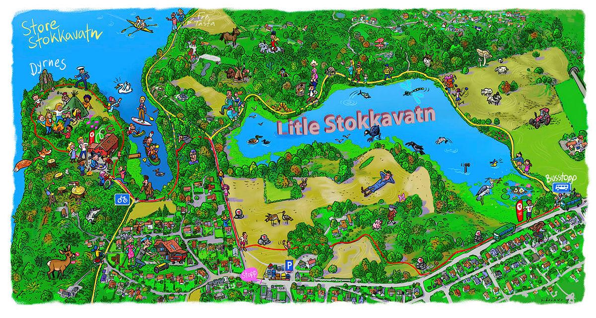 Kart over Dyrsnes og Lille Stokavatn