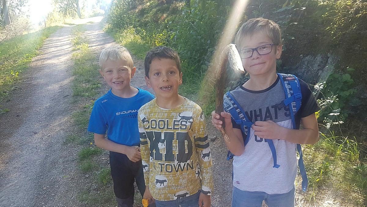 Fra venstre til høyre.  Hans Edvard, 6 år, Aiden, 6 år, Bjørn, 7 år.