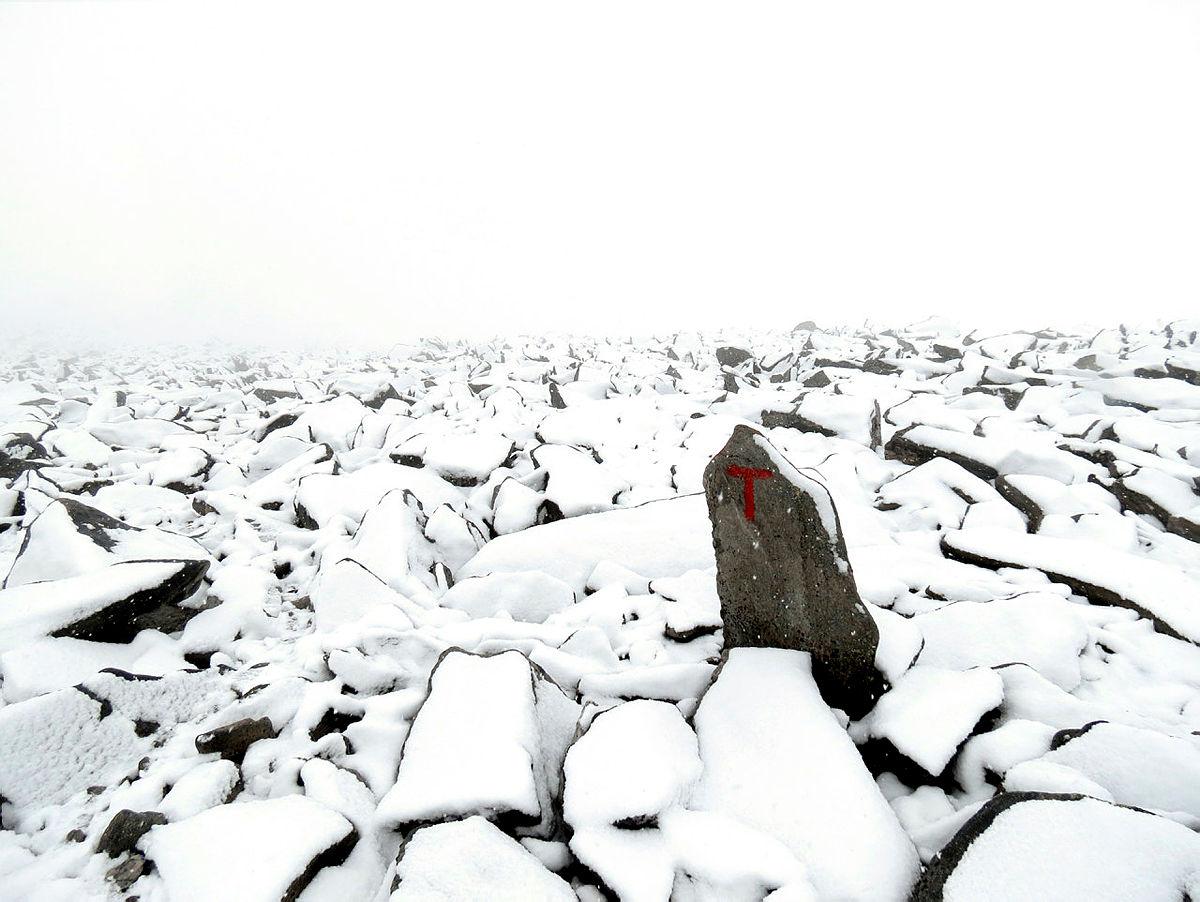 5cm nysnø i 2000m høyde på Snøhetta, bildet tatt tidlig i august i år. [helgerosbach@hotmail.com, 90536130]