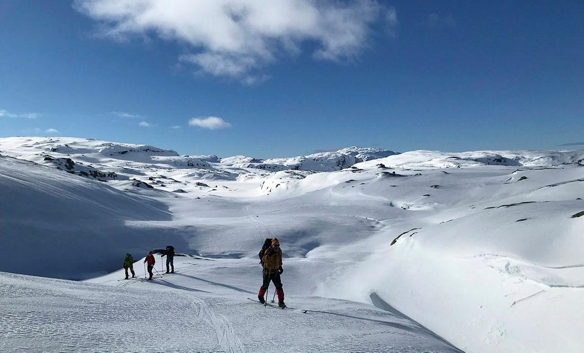 leder for Hjelmeland turlag, Svanhild Hjorteland Gbada gikk til Stranddalen i vinterferien 2021