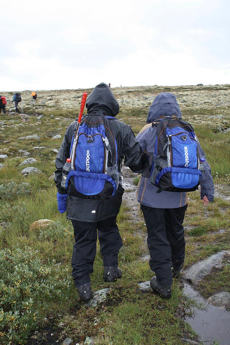 Tur med Drammen og Omegn Turistiforening på Hardangervidda august 2014. Klart det går - fellestur for røyrslehemma. Blnde Javed Patrick til venstre, ledsaga av kona Tone Patrick.