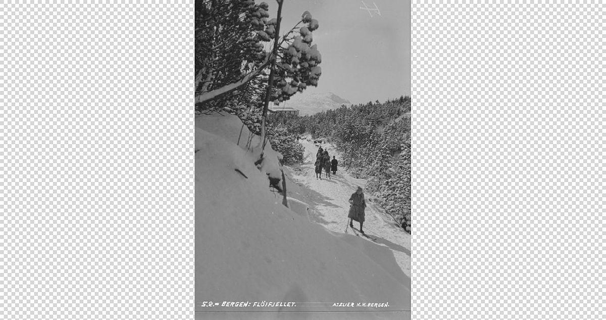 Skitur på Fløyfjellet mellom 1920 og 1930 en gang.
