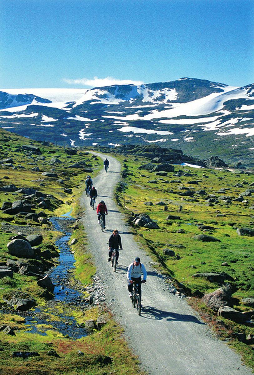 Rallarvegen. Den gamle anleggsvegen langs Bergensbanen er om sommeren populær for syklister. Bildet er tatt ved Sandå mellom Finse og Hallingskeid, i bakgrunnen Hardangerjøkulen.