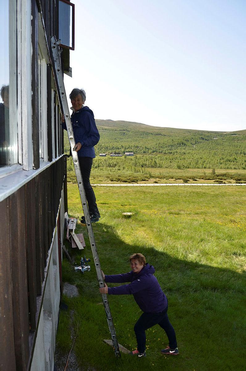 Opp i høyden for å skrape vinduer, Torill og Kaja.