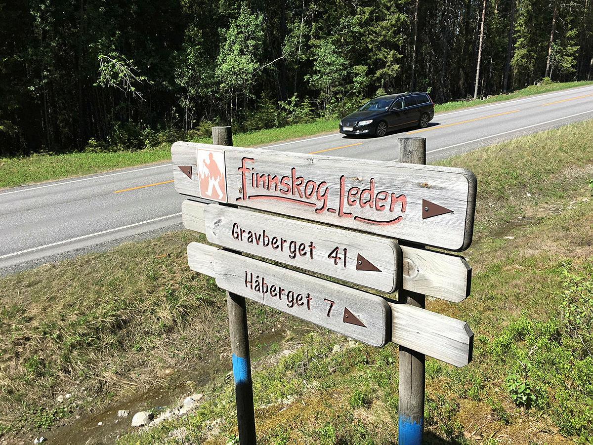 Informasjonsskilt nær begynnelse/slutt av Finnskogleden