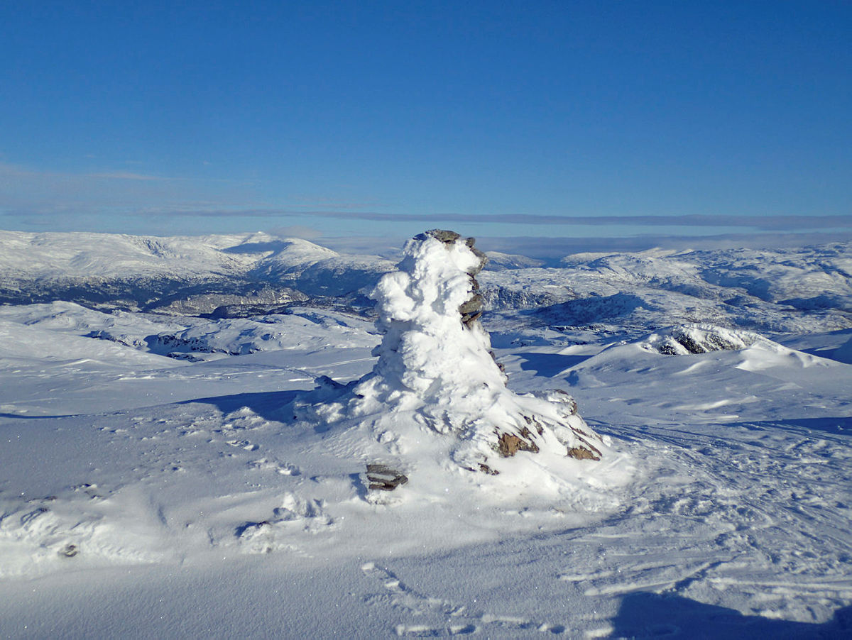 Varde på toppen av Hamlagrøhornet 1080 moh. i Bergsdalen 3. februar 2019.