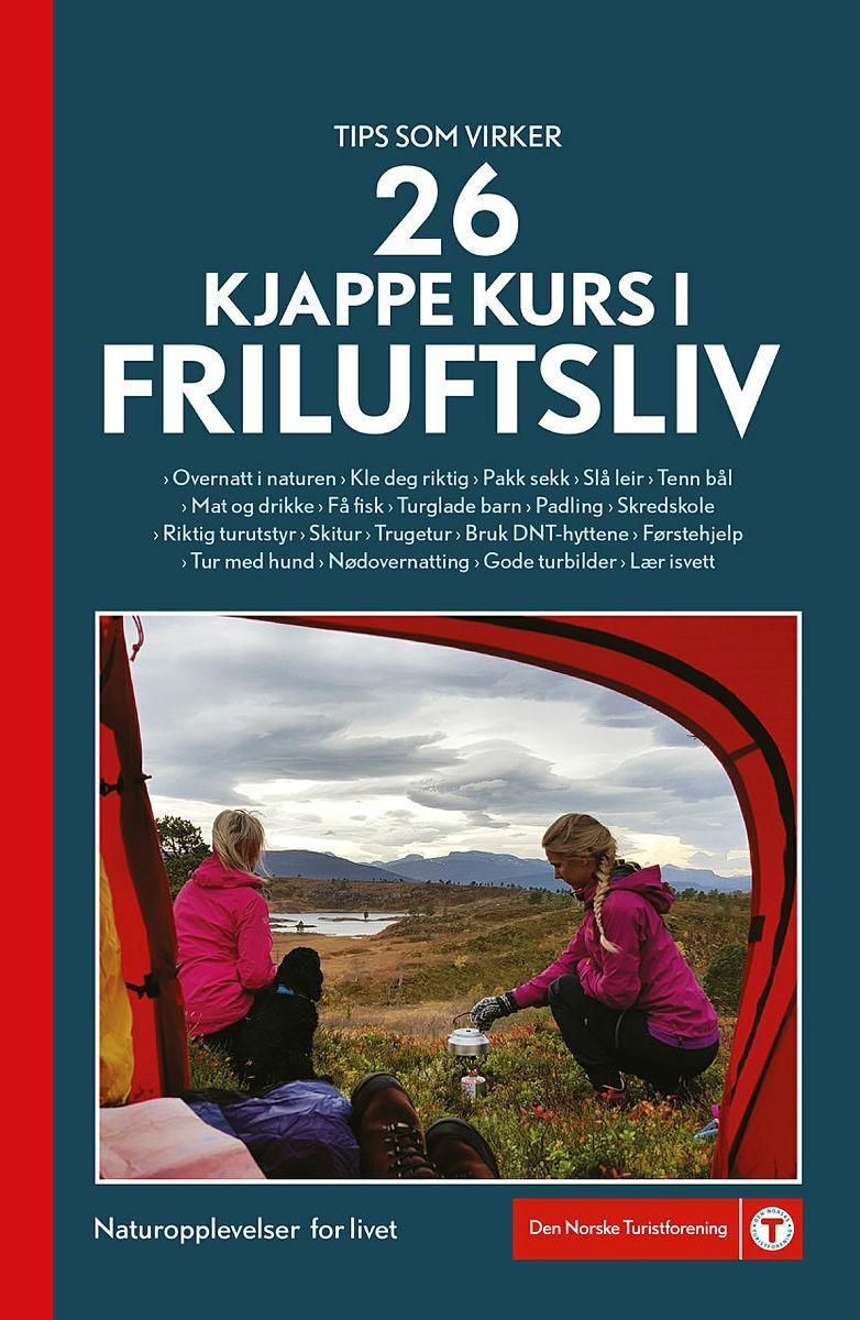 """Forside av boka """"26 kjappe kurs i friluftsliv"""""""