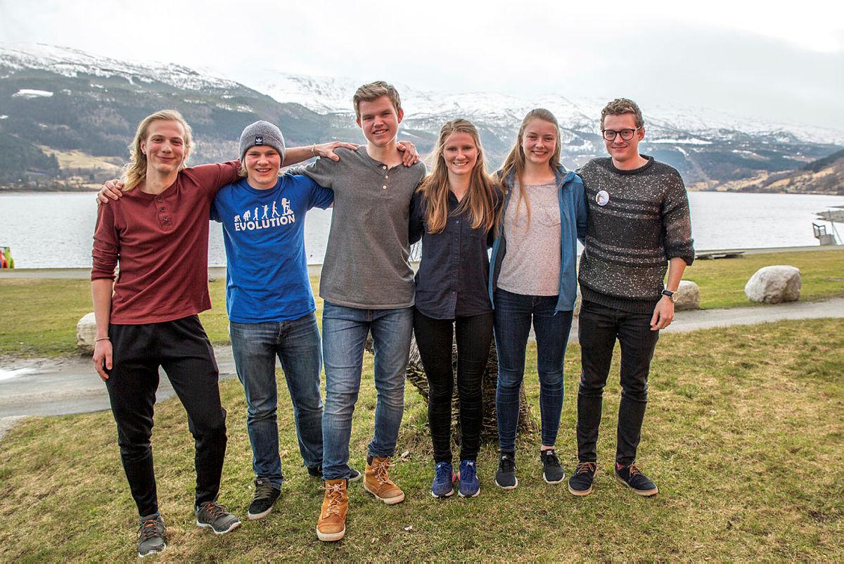 DNT ung sitt Landsstyre 2017-2018. Frå venstre: Konstantin Plotkin, Markus Sæther Malmin, Fredrik Asche Kaada, Johanne Grue Reiten, Vårinn Hauan Nilsen, Kristoffer Robin Kjørum.