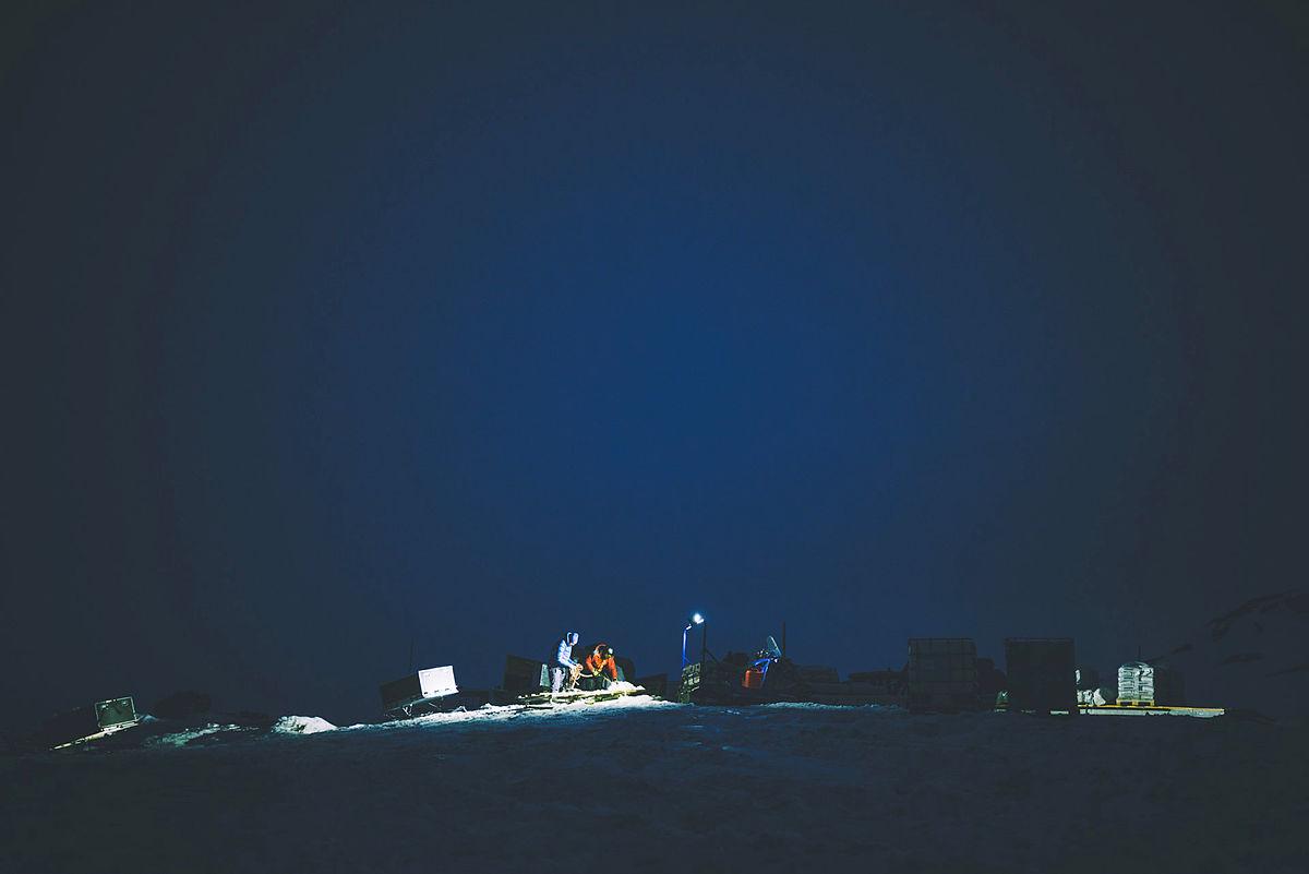 Bilder fra første runde med frakting av utstyr inn til Rauhelleren i forbindelse med solcelleprosjektet til DNT Drammen.