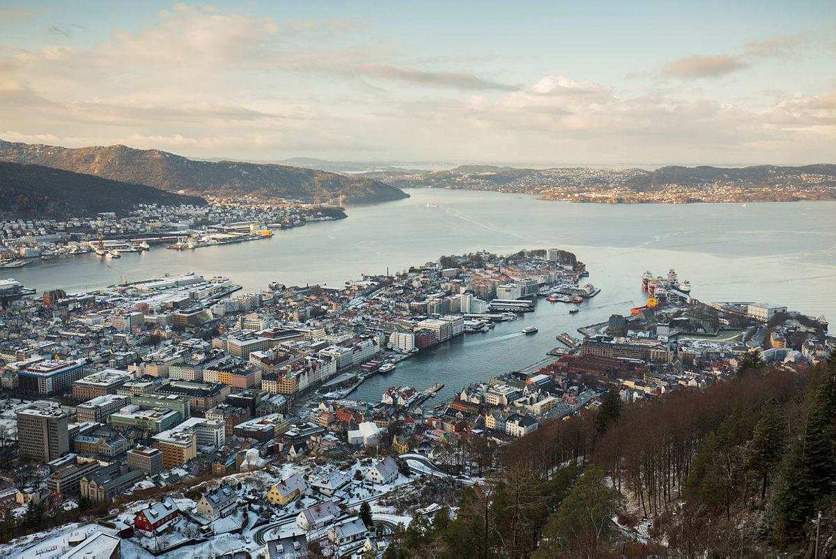 Bergen, utsikt fra Fløyen, januar 2018.