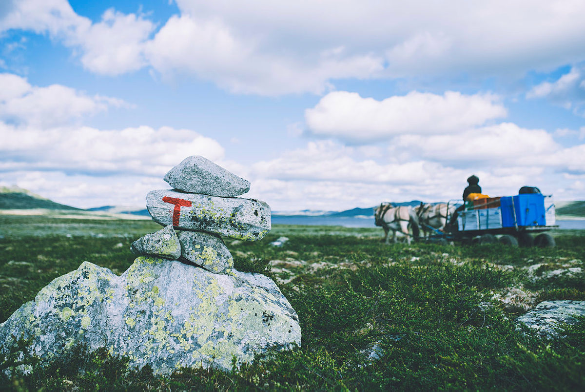 Med hest og kjerre fraktes diverse inn til Rauhelleren