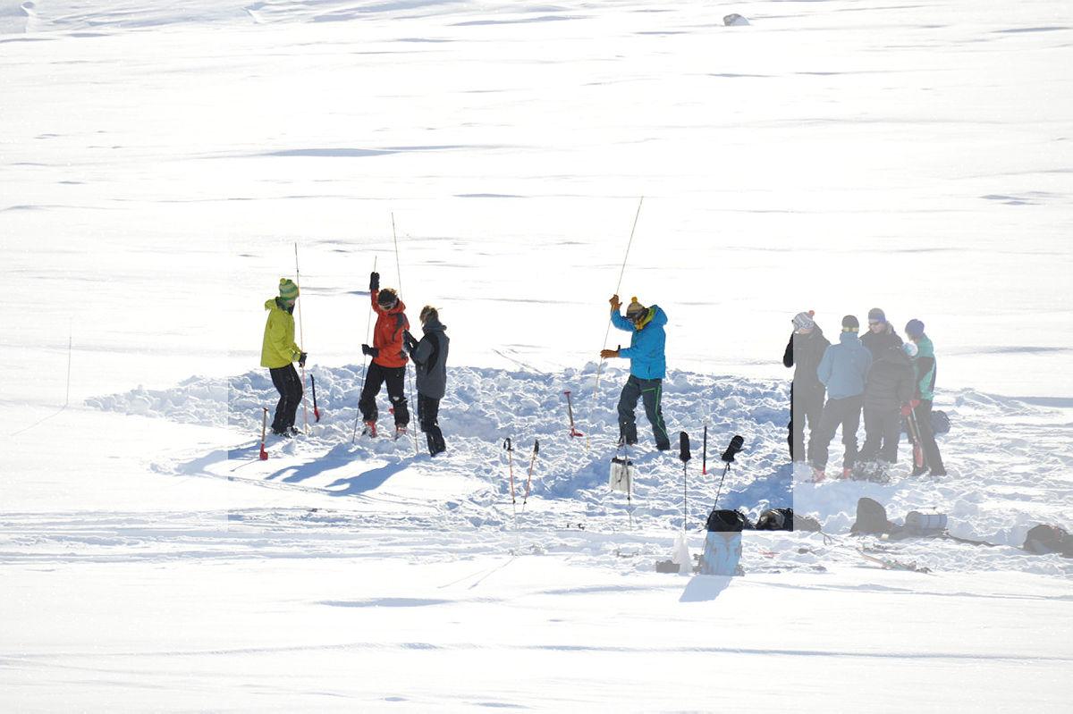 Skredsamling i Hemsedal, februar 09, DNT ung og DNT Fjellsport.Øve med søkestenger.