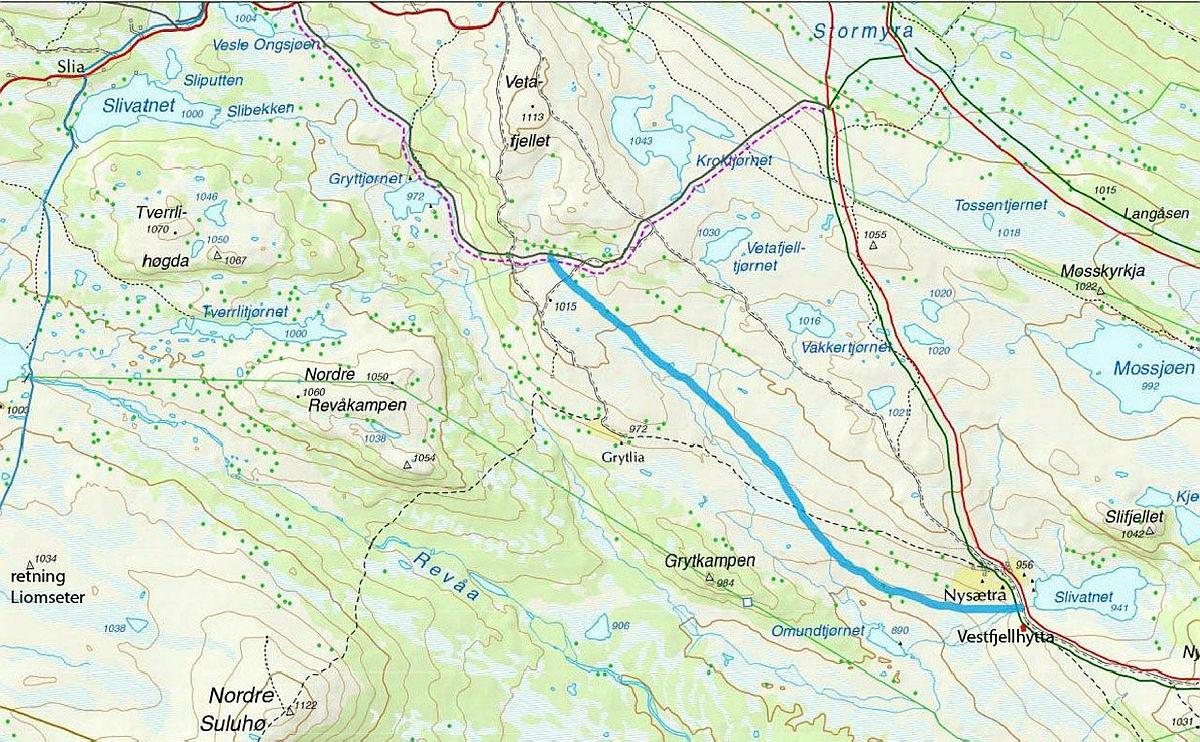 Blått viser ny stikket skiløype mellom Vestfjellhytta og Liomsæter