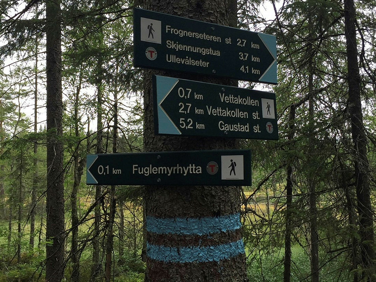 Nye skilt viser vei til Fuglemyrhytta.