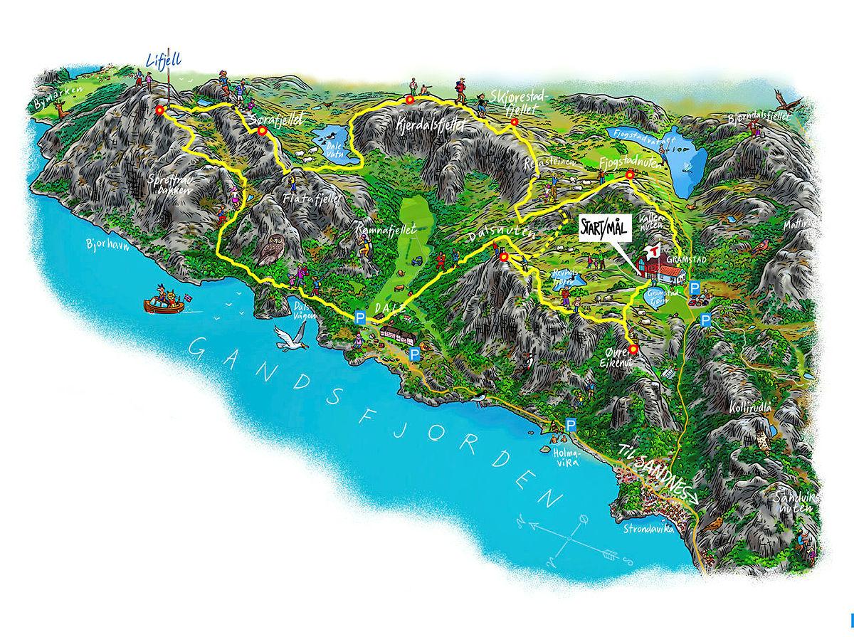 Illustrasjonen viser kart over den unike 7-nutsløypa.