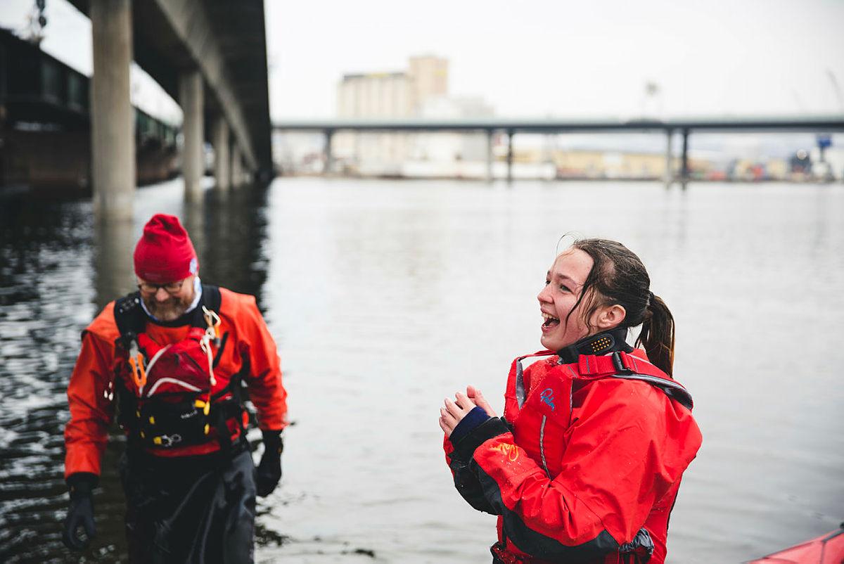 Introkurs kajakk under landsmøte DNT ung 2018 i Drammen.