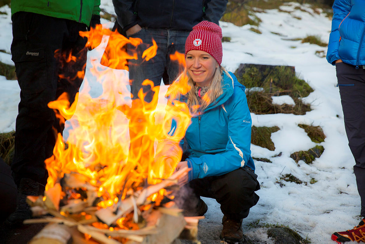 Byråder på ferskingkurs ved Skomakerdiket på Fløyen, november 2018. Dag Inge Ulstein, Rebekka Ljosland, Pål Hastaf Thorsen og Erlend Horn.
