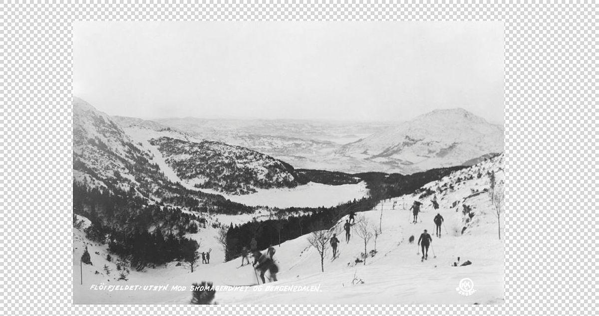 Skisport på Byfjellene i gamle dager.