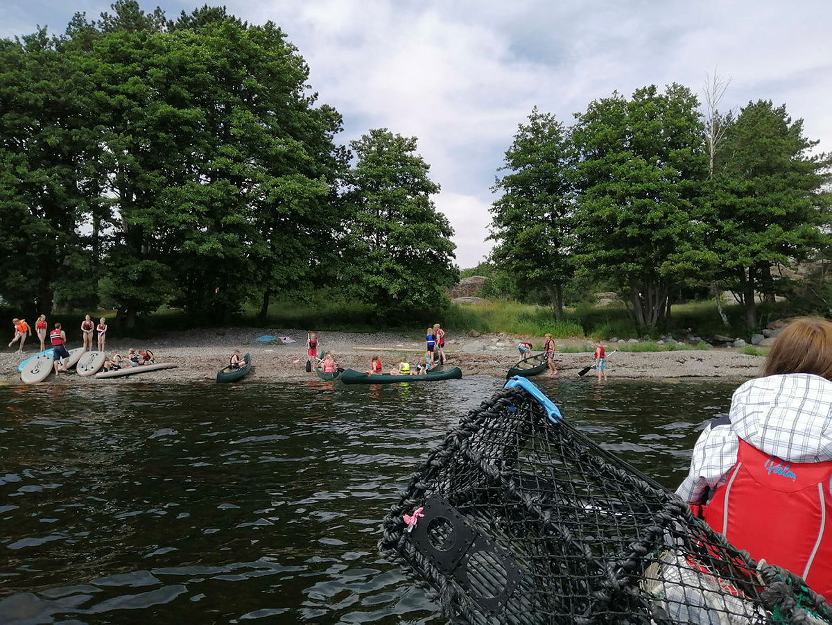 Friluftsskole 10-13 år i Skråvika i Larvik 05.-08.07.2021. Setting av krabbeteiner og krabber til lunsj.
