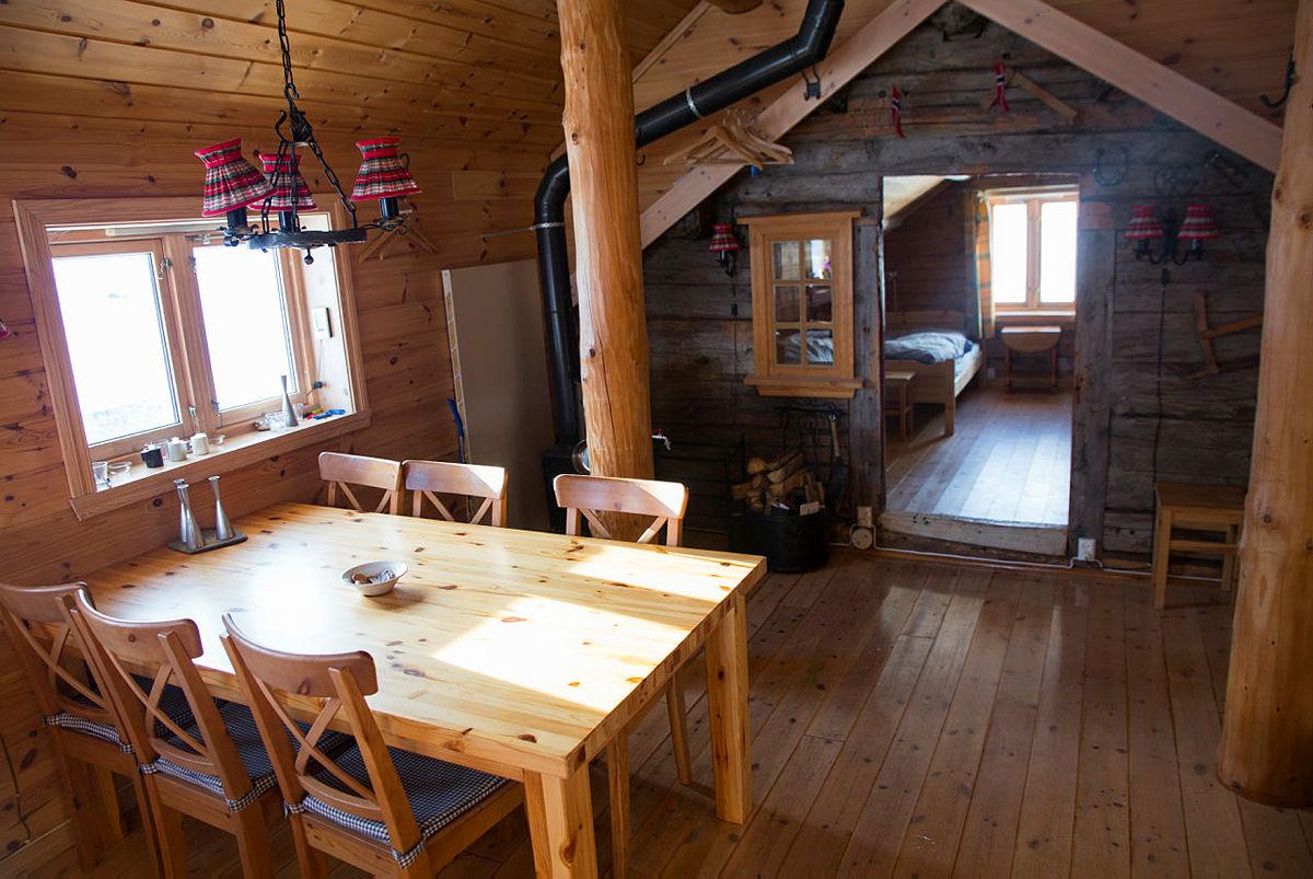 BT-hytten innvendig, februar 2018.