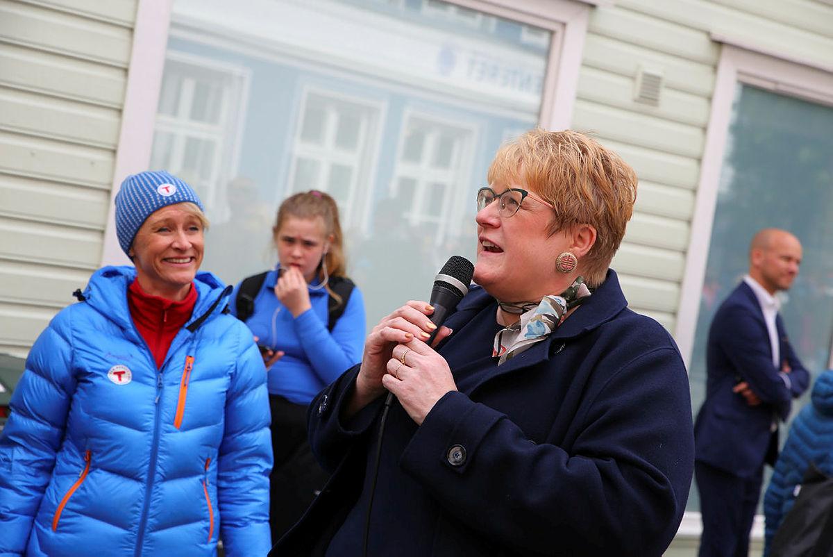 Kultur- og likestillingsminister Trine Skei Grande på besøk under OPPTUR i Bergen, 8. mai 2019.