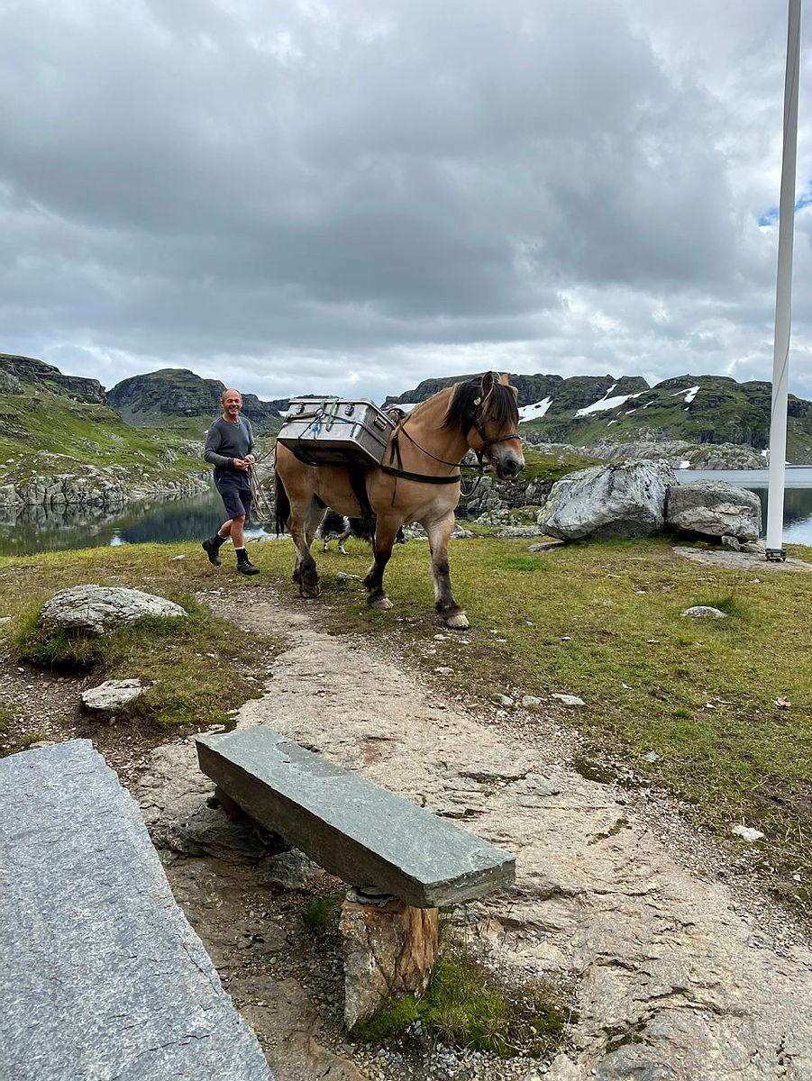 Ferske og kortreiste råvarer blir fraktet opp til Stranddalen med hesten, Sølvfaks og Tor Inge Bråtveit.