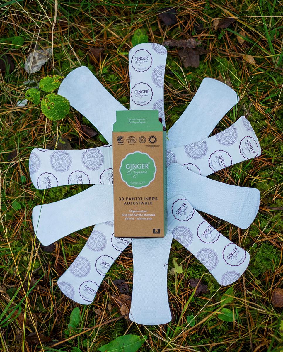 Ginger organics truseinnlegg er både 100 % nedbrytbare og laget av 100 % økologisk bomull.