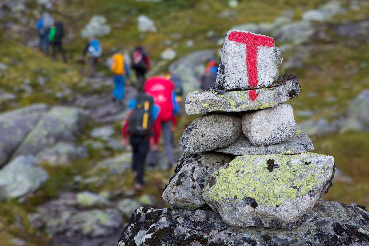 Dag Terje Klarp Solvang leder fellestur fra Hallingskeid til Osa, Historisk Vandrerute på vestlandet, august 2019.